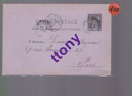 Entier Postal 10c  Type Sage   Destination Paris   1882 - Enteros Postales