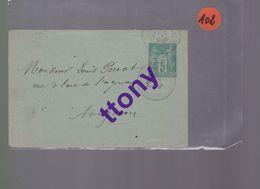 Entier Postal 5c Vert    Type Sage   Sur Une Enveloppe  Pas De Courrier  Destination Avignon   Janvier 1886 - Enteros Postales
