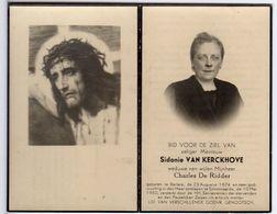 Doodsprentje VROUW FEMME Sidonie VAN KERCKHOVE °1874 BERLARE +1950 SCHOONAARDE // DE RIDDER - Andachtsbilder