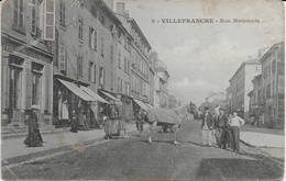 Villefranche Sur Saône - Rue Nationale , Carte Assez Rare Par Son Animation ( Voir Scanne) - Villefranche-sur-Saone