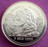 ZWITSERLAND:  5 ECU 1995  NEUTRALITÄTSSCHUTZ/BOEING 38 Mm 23 Gram CU-NI PROOF - Svizzera