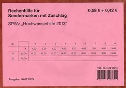 Verkaufsverpackung Inhaltsblatt, SPWz Hochwasserhilfe, Rechenhilfe, 2013 (95275) - Covers & Documents