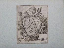 Ex-libris Héraldique Illustré XVIIIème - BELGIQUE - HUUGHE (chanoine De La Cathédrale D'Ypres) - Ex Libris