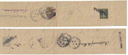 1943 - ENTIER BANDE POUR JOURNAL SEMEUSE 2c UTILISÉ COMME COLLIER DE SAC GRIFFE ANNULÉ CHATEAUNEUF VALENCE GARE DROME - Enteros Postales