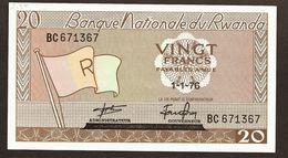 """20 Francs  """"RWANDA""""  01 01 76  UNC    Ble 78 - Rwanda"""