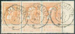 N°79a(3) - 1Fr.GROSSE BARBEen Bande De 3, Bdf Droit, Obl. Télégraphique DeDIXMUDE *18 SEPT.1911idéalement Apposée - 1905 Grosse Barbe