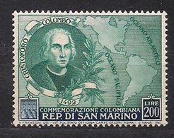 Saint-Marin San Marino 1952 Yvertn° 357 *** MNH Cote 110 € Christoph Colomb Columbus - Saint-Marin