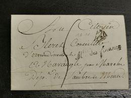 Lettre, Ministère Des Finances Envoyé à Navaugle Rochefort L'an 14 - 1794-1814 (Période Française)