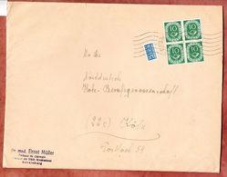 Grossbrief, Posthorn Im 4er-Block + Notopfer, Handroll Welle Gevelsberg, Nach Koeln 1952 (95283) - Covers & Documents
