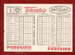 TOTOCALCIO - SCHEDINA  CONCORSO N. 1  - NUOVA PERFETTA - Bowling