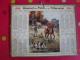 Almanach Des PTT . Calendrier Poste 1934. Chasse à Courre - Calendriers