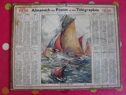 Almanach Des PTT . Calendrier Poste 1936. Sortie De Thonniers - Calendriers