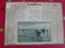 Almanach Des PTT . Calendrier Poste 1937. Pêche à La Crevette - Calendriers