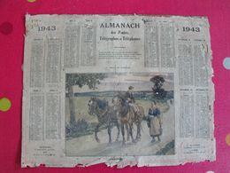 Almanach Des PTT. Cantal. Calendrier Poste 1943. Retour Au Crépuscule - Grand Format : 1941-60
