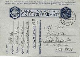 P.M. 102 Carte De Franchise Militaire Italienne FM 1941 Vers P. M. 88 Quartier Generale - Correo Militar (PM)