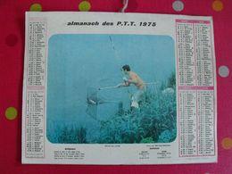 Almanach Des PTT. Cantal. Calendrier Poste 1975. Pêche En Loire, Pêche à La Caille. - Calendars