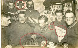 Regiment 174 - Schach - Chess - échecs - Saarbrücker Zeitung - Deustche Soldaten -guerre 14/18-WWI Carte Photo Allemande - 1914-18