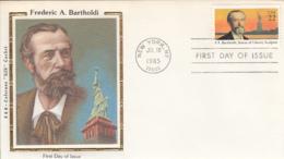 USA 1985 FDC Sc 2147 22c Frederic A Bartholdi R & R Colorano Silk Cachet - Premiers Jours (FDC)