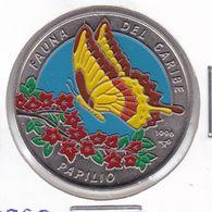 MONEDA DE CUBA DE 1 PESO DEL AÑO 1996 DE FAUNA DEL CARIBE - MARIPOSA PAPILIO - Cuba