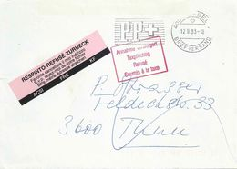 Brief  Basel - Thun  (Annahme Verweigert / Adresse Streichen)         1993 - Switzerland