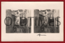 PORTUGAL - LISBOA - ALFAMA - UMA RUA - 1930 STERO REAL PHOTO PC - Cartes Stéréoscopiques