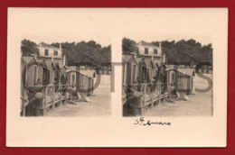 PORTUGAL - SANTO AMARO DE OEIRAS - PRAIA - VESTIARIOS - 1930 STERO REAL PHOTO PC - Cartes Stéréoscopiques