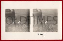 PORTUGAL - LISBOA - CAIS DO SODRE - RIBEIRA - DUAS PEIXEIRAS - 1930 STERO REAL PHOTO PC - Cartes Stéréoscopiques