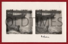 PORTUGAL - LISBOA - CAIS DO SODRE - RIBEIRA - LAVANDO O PEIXE - 1930 STERO REAL PHOTO PC - Cartes Stéréoscopiques