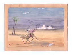 Ancienne Aquarelle Signée Représentant Une Scène Orientaliste - Datée 1924 Et Signature Monogramme JB - 17,5X12,5 Cm - Aquarelles