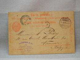 SUISSE - EP 10c ROUGE - 2 OBLIT RONDES GENEVE RUE DU ?+ NAMUR STATION 1894 - Entiers Postaux