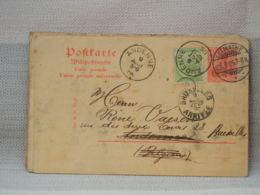 ALLEMAGNE BELGIQUE - ENTIER POSTAL 1905- 10pf ROUGE+ COMPL 5c ARMOIRIES VERT BELGE - OBLIT LERMATHE, ANDENNE, BRUXELLES - Allemagne