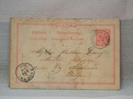 ALLEMAGNE BELGIQUE - ENTIER POSTAL 1891- 10 Pf ROUGE - 2 OBLIT RONDES OBERLAHNSTEIN + ANDENNE - Allemagne