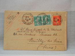 FRANCE- ENTIER POSTAL 1921-  10c SEMEUSE ORANGE + COMPLEMENT 2X5c SEMEUSE VERT- 3 OBLIT LILLE CHAMBRE DU COMMERCE - Entiers Postaux