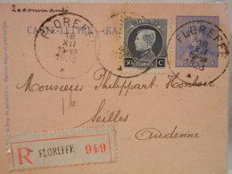 BELGIQUE- ENTIER POSTAL 1923- 25c ROI ALBERT CASQUE BLEU- + COMPLEMENTS 50c ROI ALBERT PROFIL - 2 OBLI FLOREFFE + R - Entiers Postaux