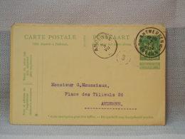 BELGIQUE - EP 5C VERT GRAND LION HERALDIQUE - OBLITERATION ANTWERPEN - ANDENNE 1907 - Postales [1909-34]
