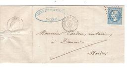 REF1392/ TP 22 S/LAC écrit De Somain C.Ambulant Quiévrain à Paris 28/Oct/66  + LOS PTS QP > Douai C.d'arrivée - 1849-1876: Période Classique