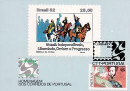 Portugal 1986 Maximum Card; Brasil Independence; Horses; D. Pedro Portugal King; Lubrapex 86 - History