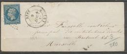 1861 Enveloppe N°14 Obl PC2673 + CAD TYPE 14 RIEZ BASSES-ALPES (5) X1769 - 1801-1848: Precursors XIX