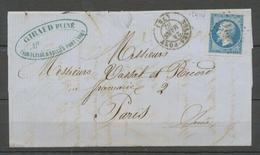 1862 Lettre N°14 20c Bleu TB PC 2914 Sollies-Pont VAR(78) Ind 8 Cote 45€ X1953 - 1801-1848: Precursors XIX