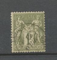 Classique Sage N°72 1f Bronze Type I N/B Oblitéré TB. X243 - 1876-1878 Sage (Type I)