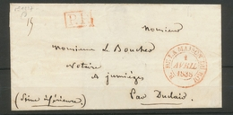 1838 Lettre PP Rouge + CAD N°4325 B. DE LA MAISON DU ROI Rouge Superbe X2662 - Postmark Collection (Covers)
