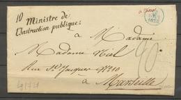 1828 Lettre En Franchise Griffe Ministre De L'instruction Publique X3032 - Postmark Collection (Covers)
