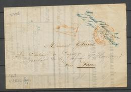 1863 Lettre Franchise Bleue Grand Chancelier De La Légion D'Honneur X3079 - Postmark Collection (Covers)