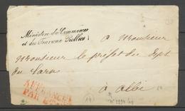 1852 Lettre En Franchise Ministère Des Commerces Et Des Travaux Publics X3107 - Postmark Collection (Covers)
