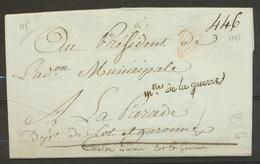 1797 Lettre En Franchise Griffe Mtre De La Guerre. Superbe X3150 - Postmark Collection (Covers)