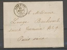 1865 Paris Lettre CACHET TAXE GARE D'IVRY (15c) Superbe. Indice 15 X3161 - 1801-1848: Precursors XIX