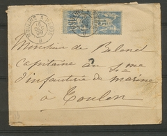 1899 Env. Paire Sage 15c Obl AMBULANT JOUR Type 2 MOULINS à PARIS B X3360 - Marcophilie (Lettres)