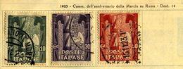 ITALIA REGNO 1923 ANNIV. MARCIA SU ROMA .I 3 VALORI USATI In Centesimi. - Usati
