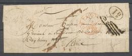 1820 Lettre DETAXES, Cercle Fleur De Lys Rouge + C 12 + 1d + Paraphe, TB X4929 - Postmark Collection (Covers)