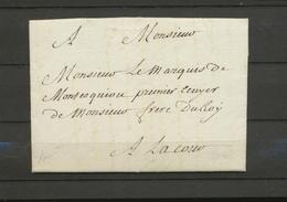Franchise De La Cour De LOUIS XVI Lettre Pr Marquis De Montesquiou Rare X5092 - Postmark Collection (Covers)